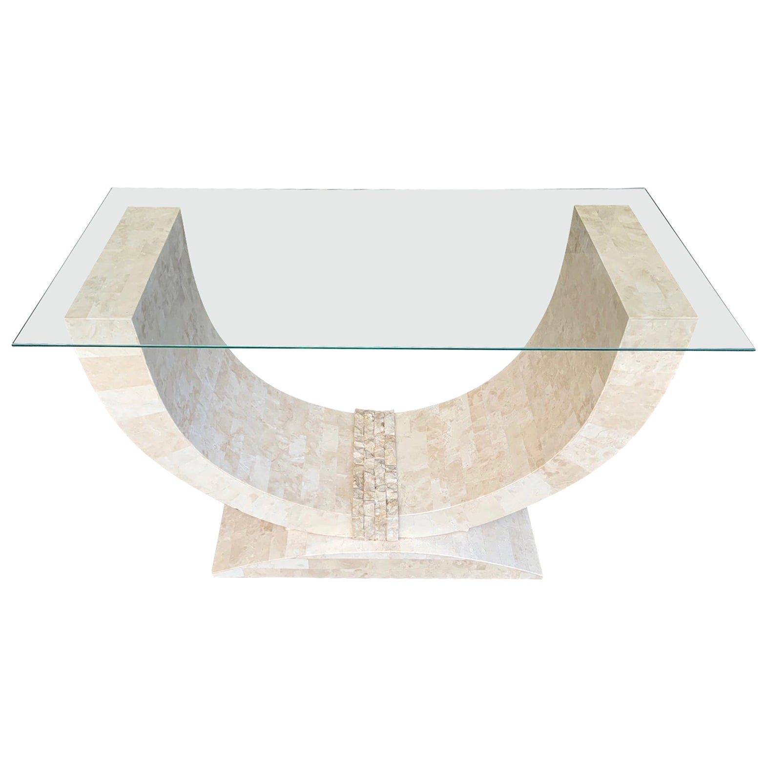 Maitland Smith Tessellated Marble Console Table with Bevelled Glass Top