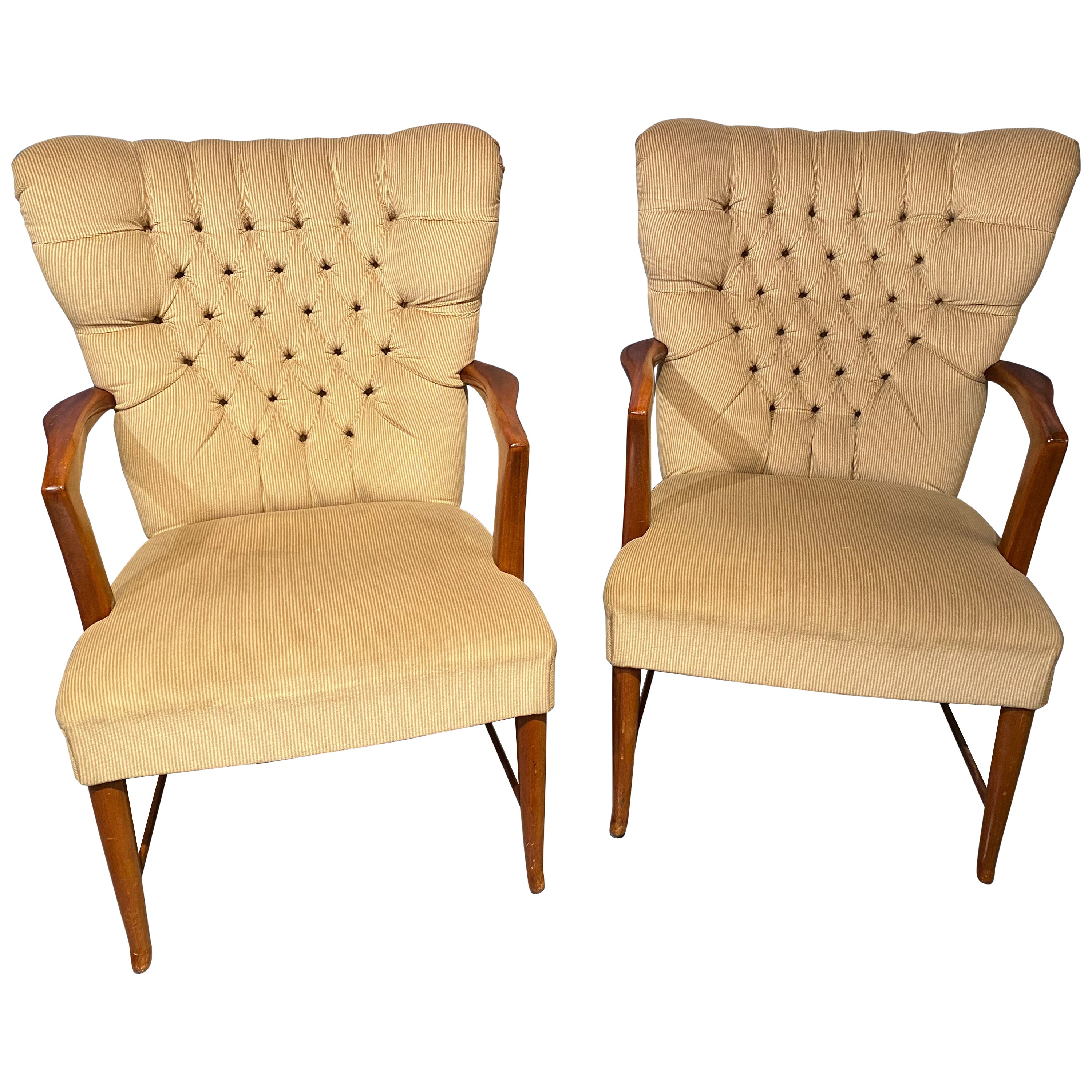 Mid-Century Modern Pair of Lounge Chairs Paolo Buffa Attribution