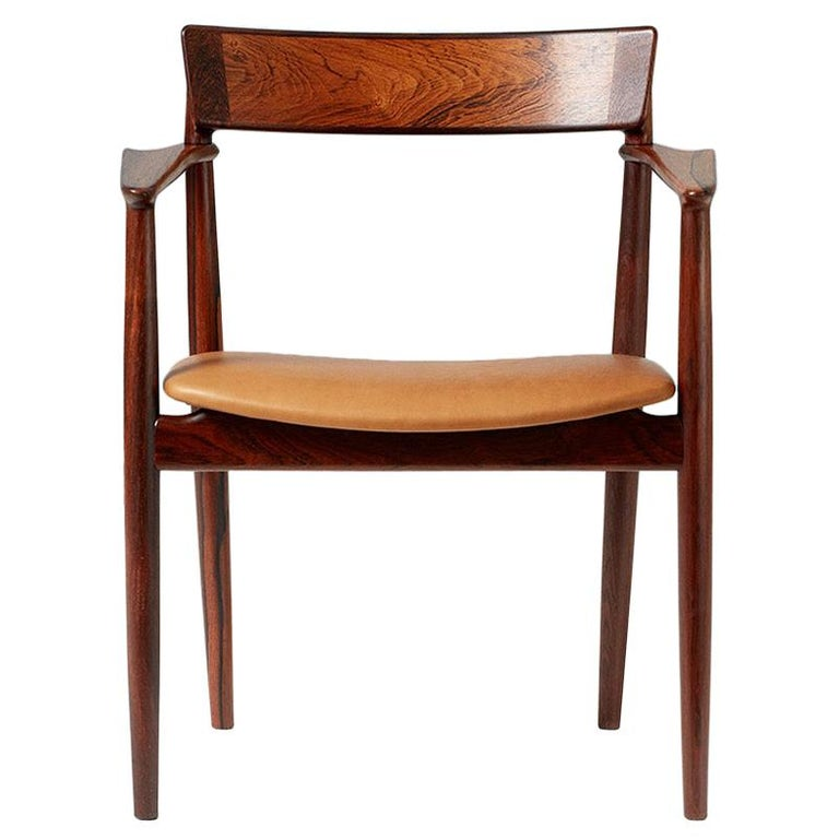 Henry Rosengren Hansen Rosewood and Leather Armchair, 1960 For Sale