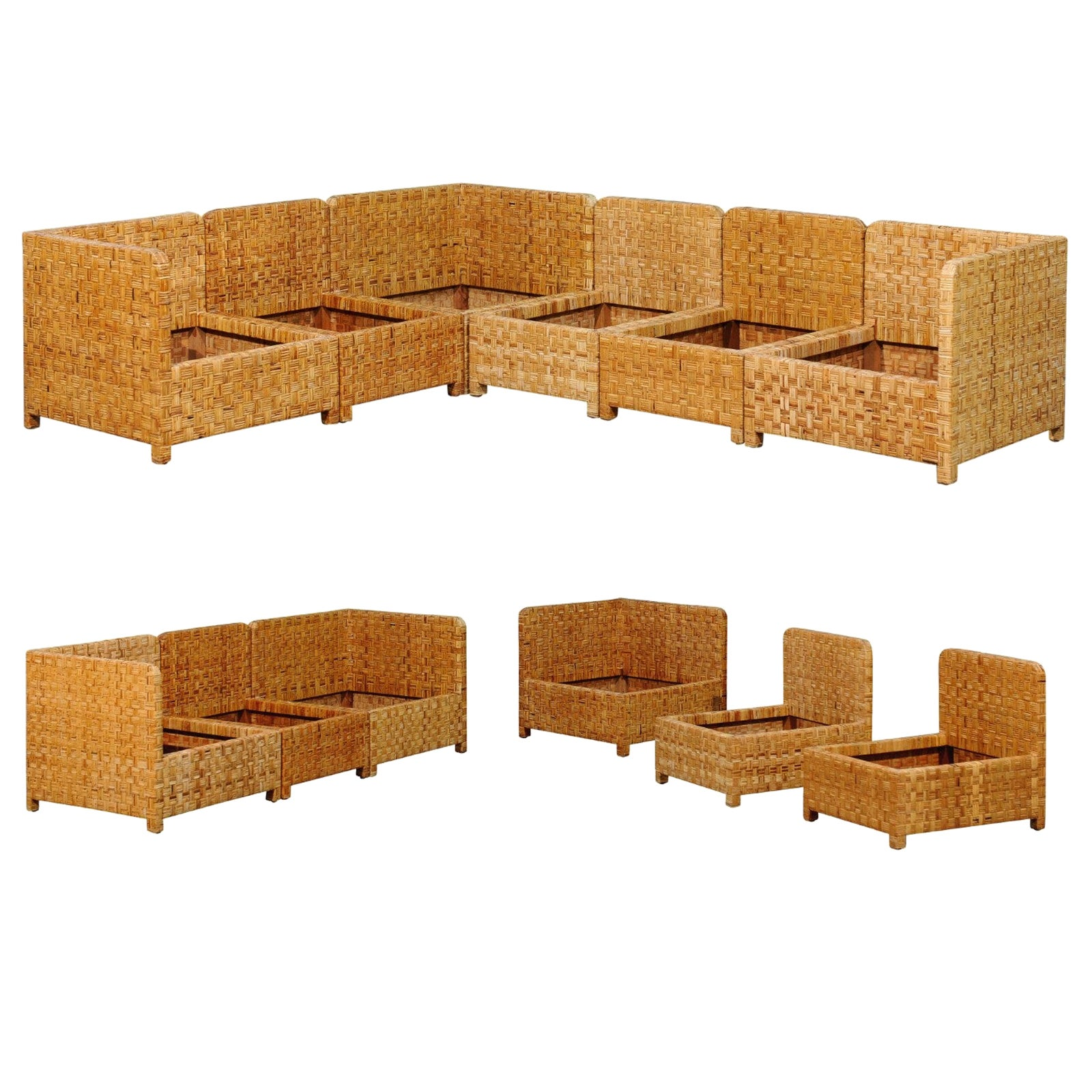 Stellar 6-Piece Basketweave Cane Seating Set by Danny Ho Fong, circa 1975