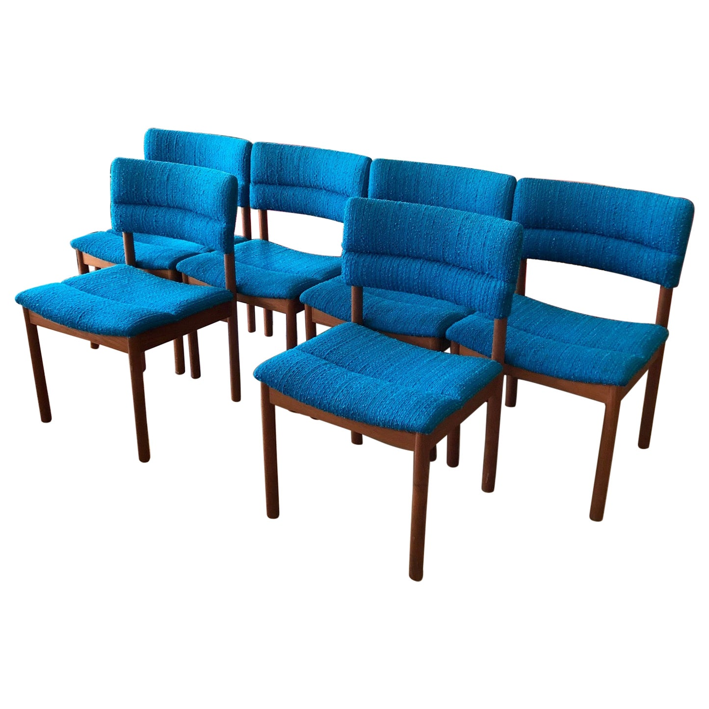 Vintage 1960s Danish Modern Set of Six Teak Dining Chairs