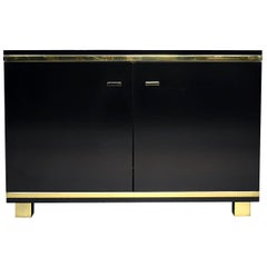 Willy Rizzo Style Black Credenza with Brass Details, Italy, circa 1970