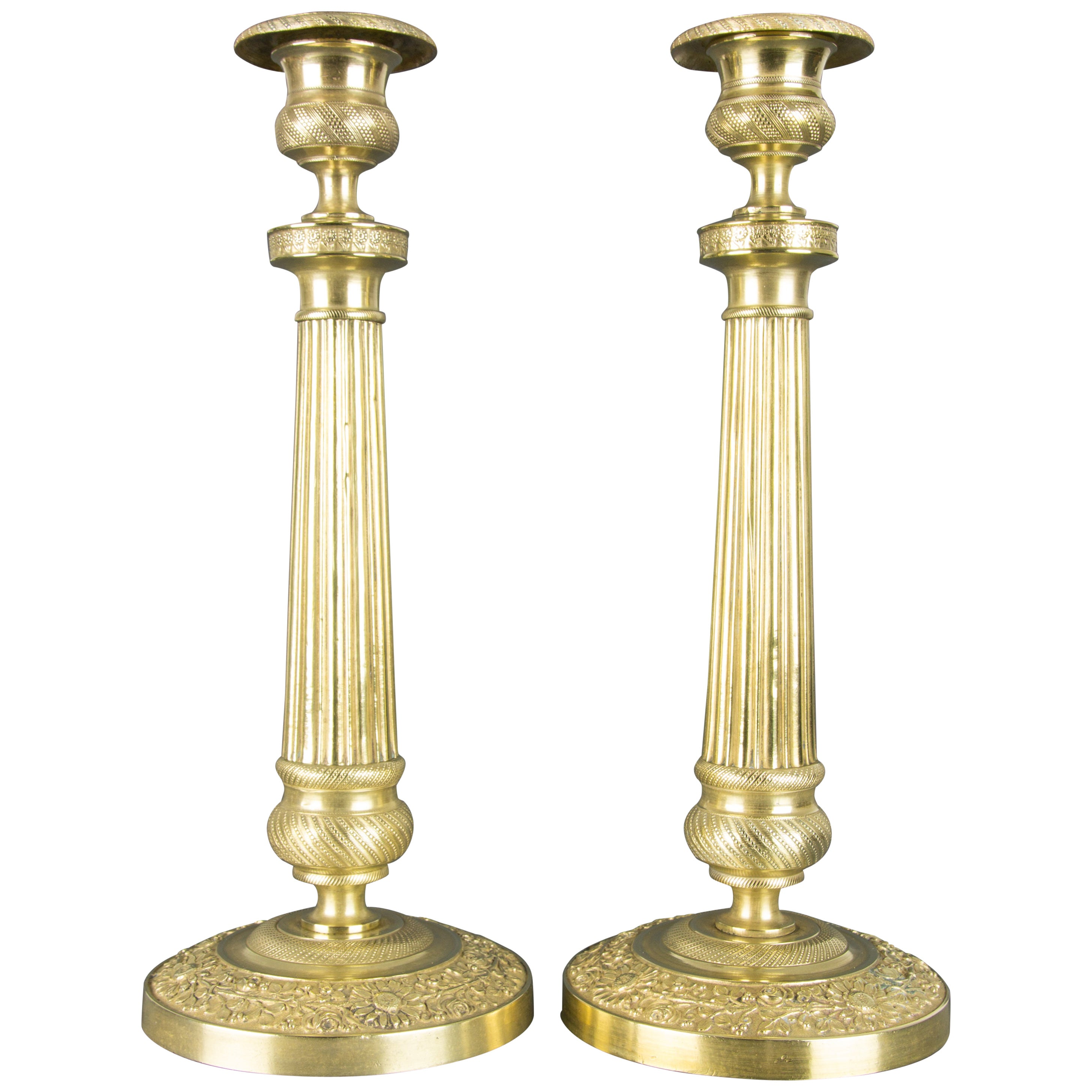 Pair of French Brass Candlesticks with Floral Motifs, 1920s