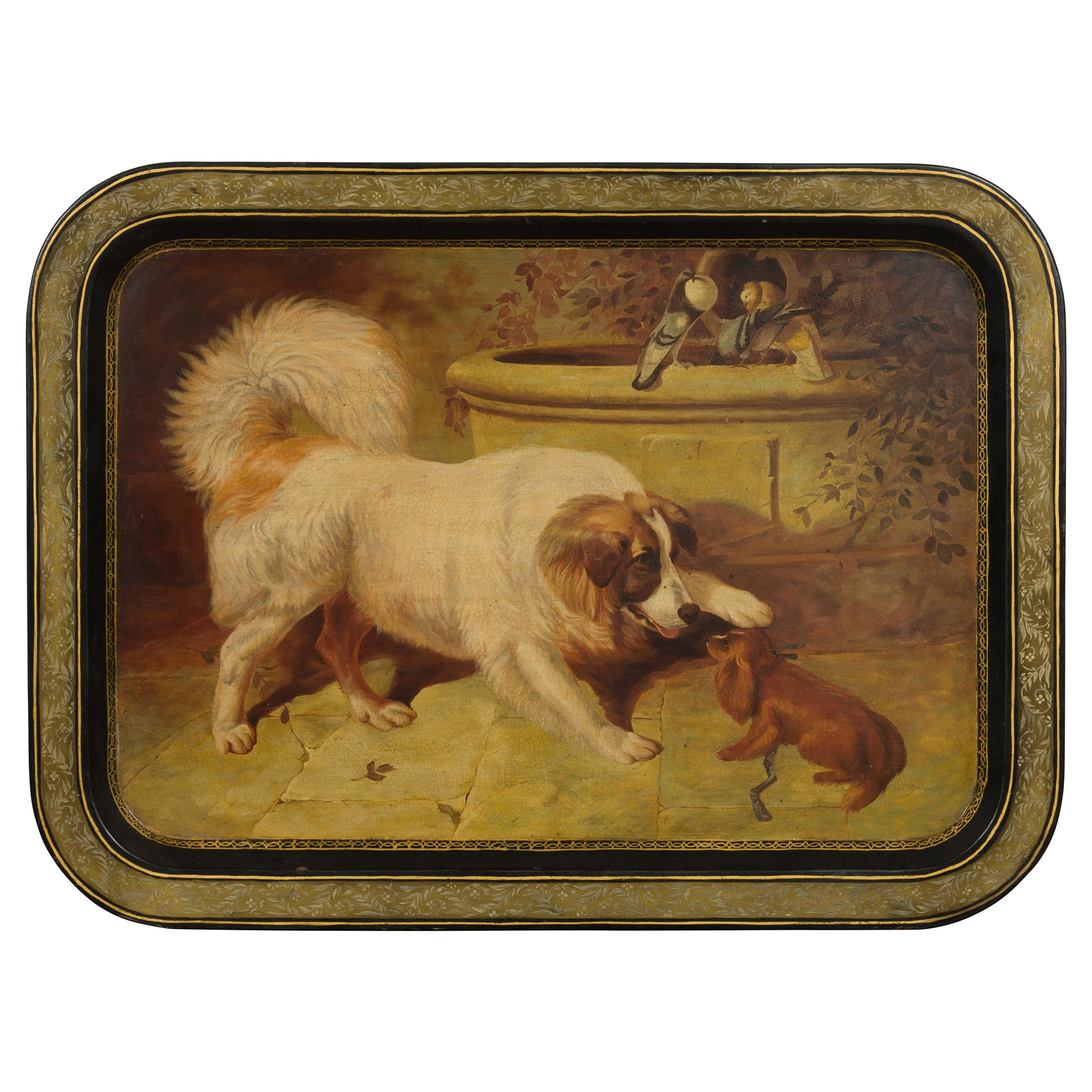 English 19th Century Painted Tôle Tray Depicting Playful Dogs and Turtle Doves