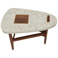 Harvey Probber Terrazzo and Walnut Side Table