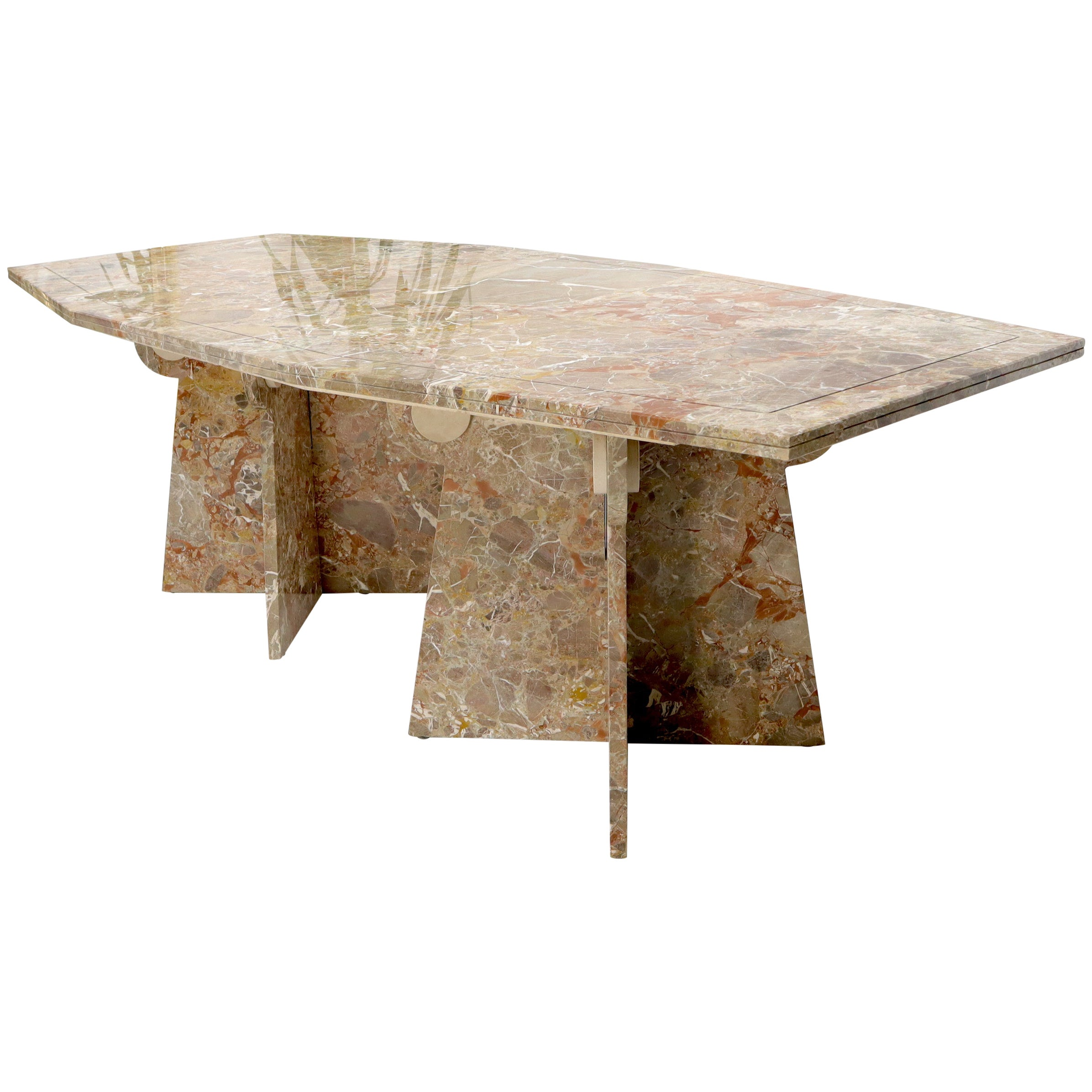 Large Marble Boat Shape Top Dining Conference Table on Cross Shape Bases