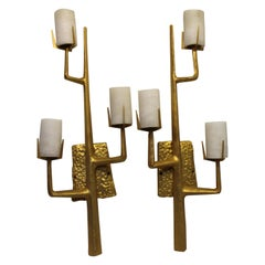 Mid-Century Modern Style Sconces 24-Karat Gold Plate after Agostini, French