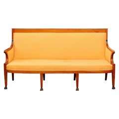Directoire Sofa in Fruitwood with Paw Feet, France, ca. 1800