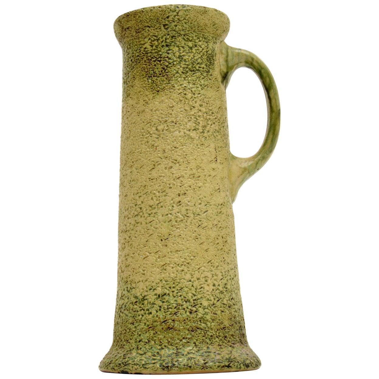 Large Vintage Glazed Ceramic Pitcher / Vase