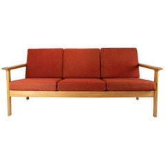 Three-Seat Sofa of Oak and Red Wool Fabric by Hans J. Wegner and GETAMA