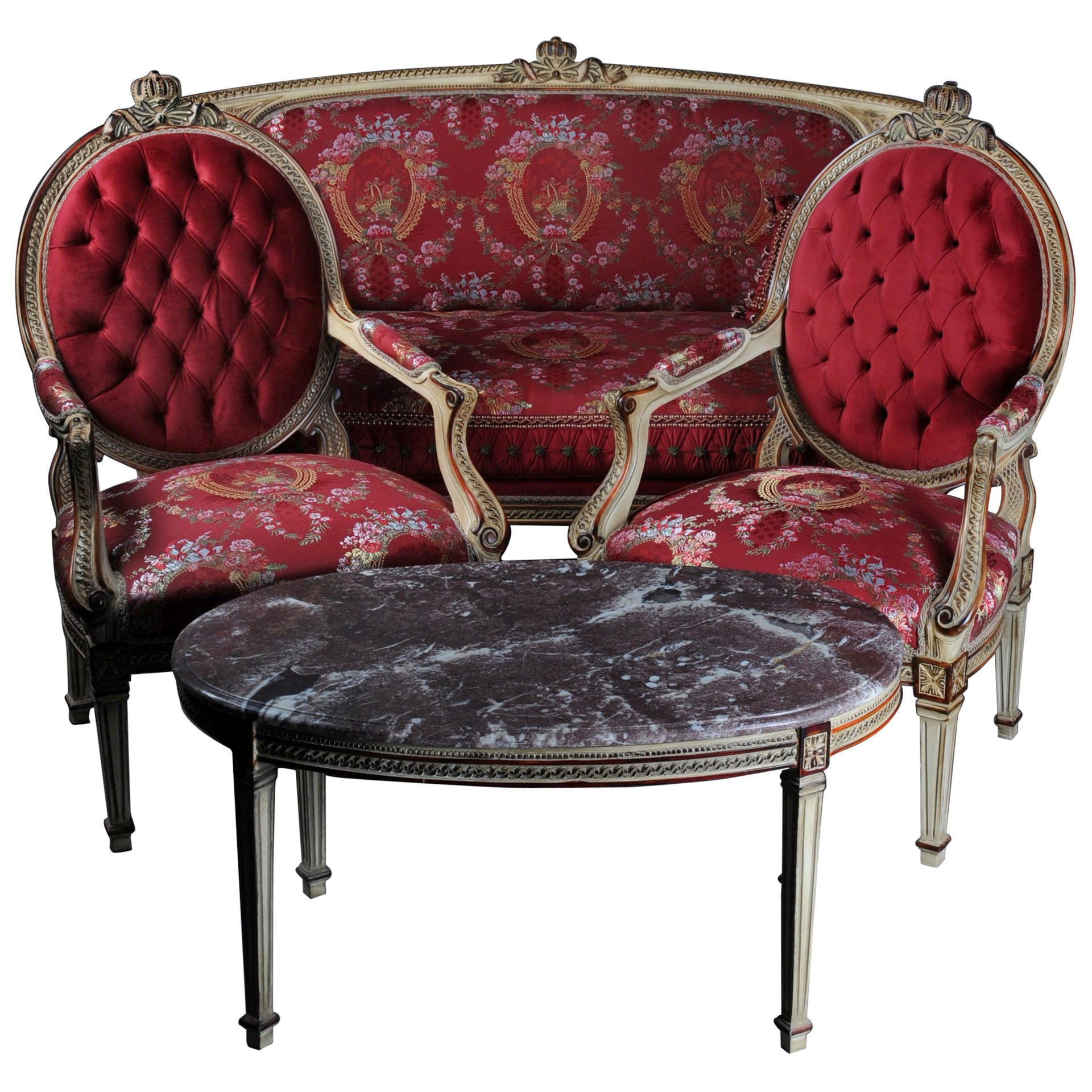 Unique Seating Group, Set with Oval Table in Louis XVI Seize