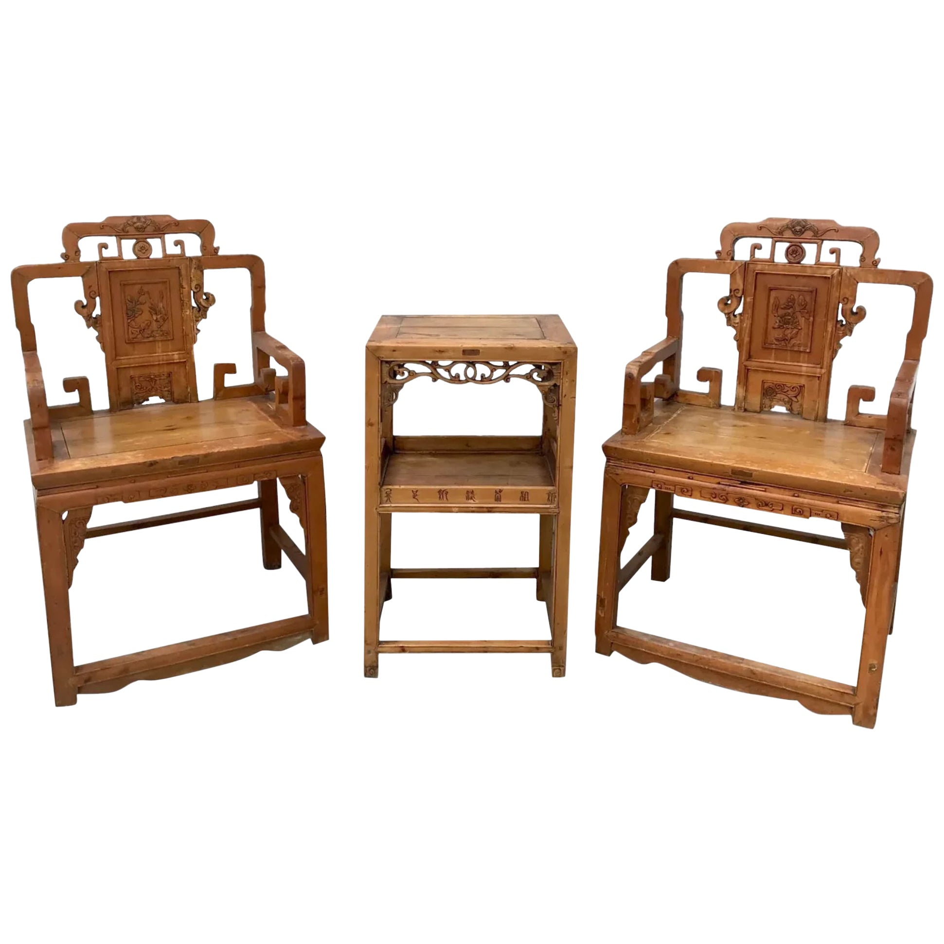 3-Piece Set of Qing Dynasty Armchairs and Table