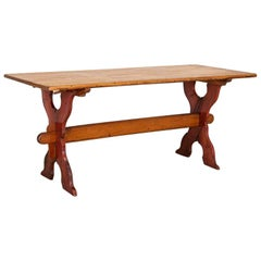 """Antique Pine Farm Trestle Dining Table with Red """"X"""" Stretcher Base"""