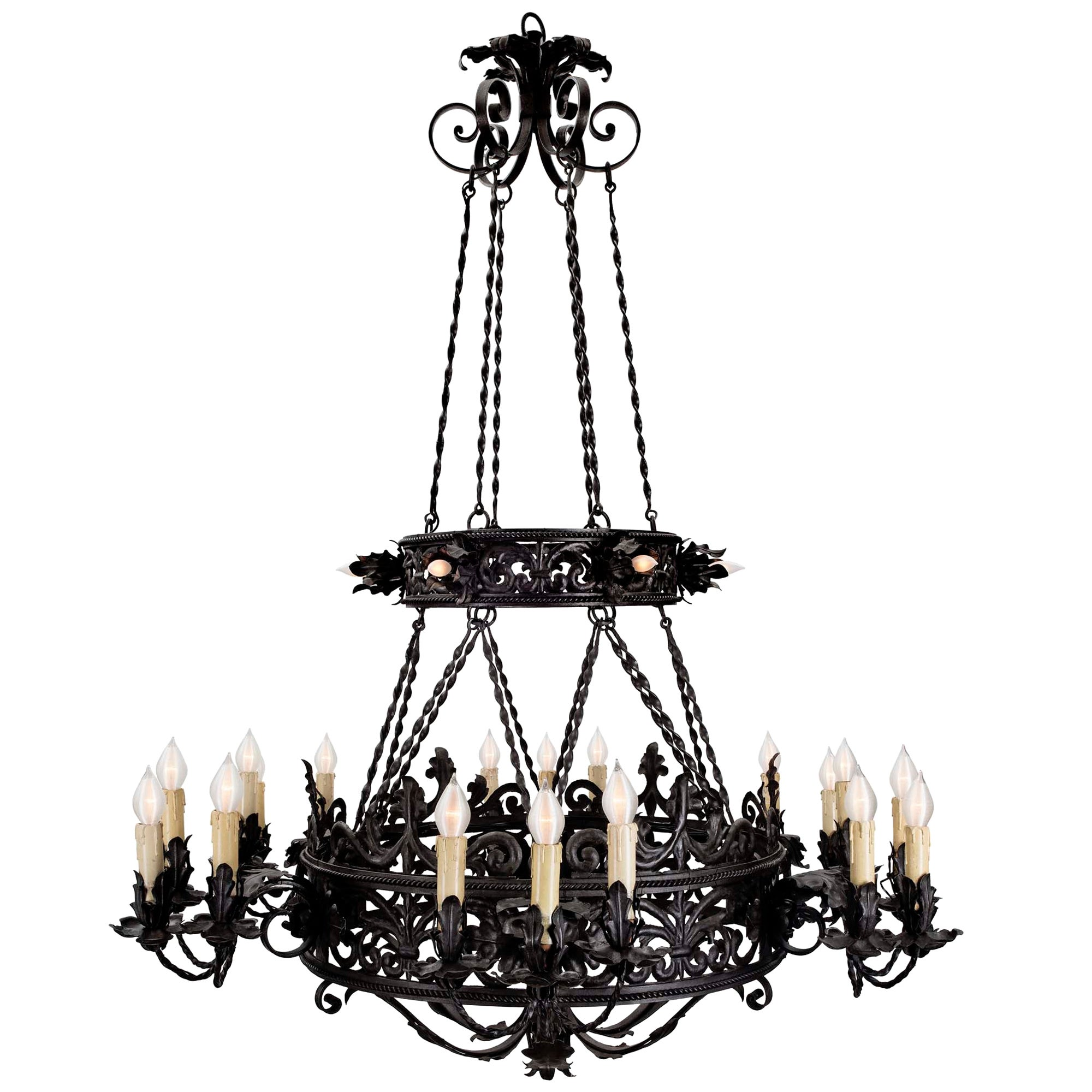 French Mid-19th Century Patinated Wrought Iron 24-Light Chandelier