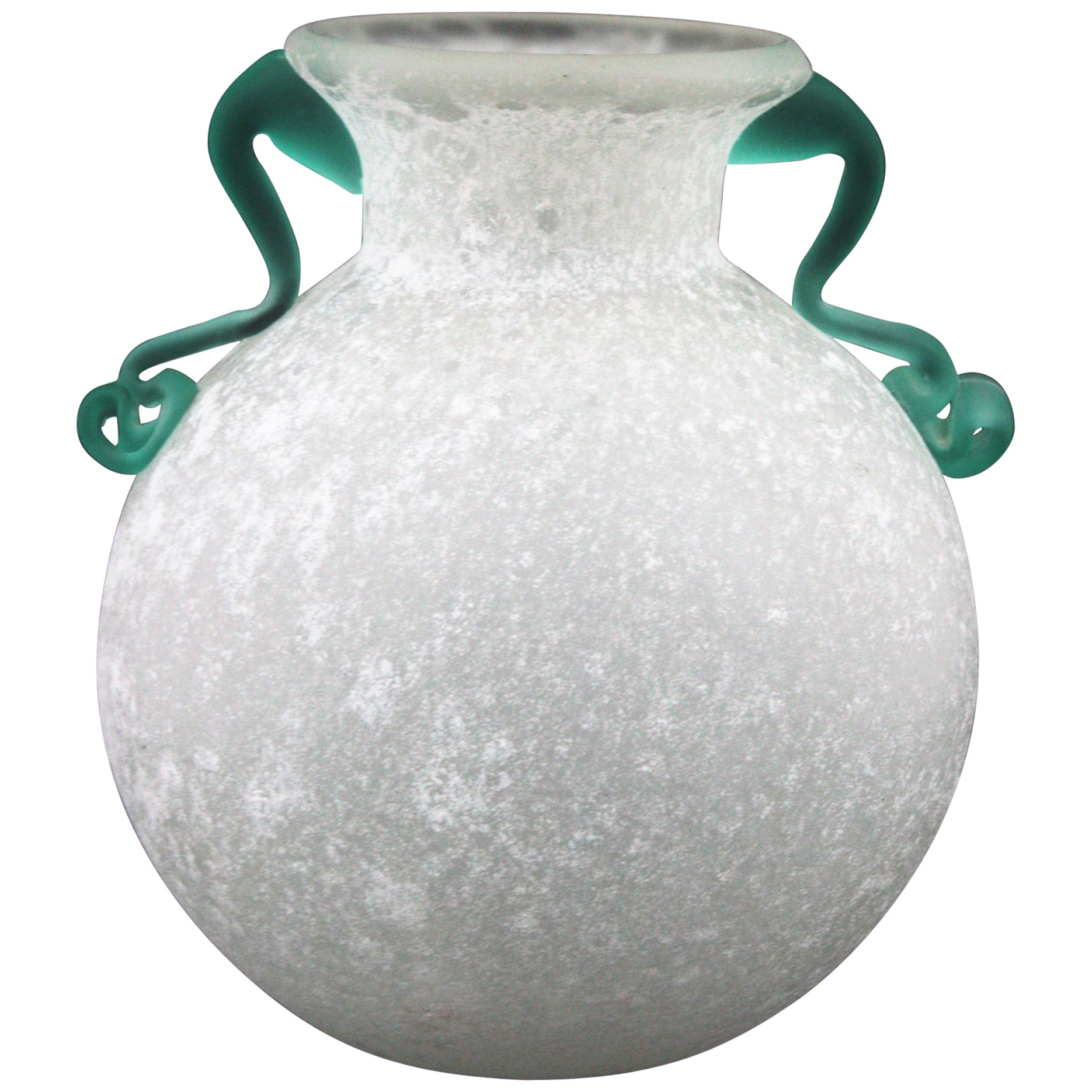 Archimede Seguso Scavo Corroso Art Glass Vase with Handles, Italy, 1960s
