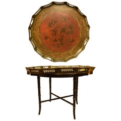 English Painted Tole Tray Table, 19th Century