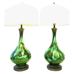 Mid-Century Modern Pair of American Ceramic Drip Glaze and Brass Lamps