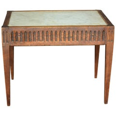 Louis XVI Style Walnut and Marble Side Table