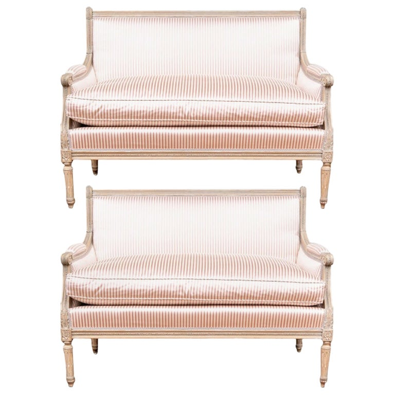 Fine Pair of Louis XVI French Style Upholstered Settees