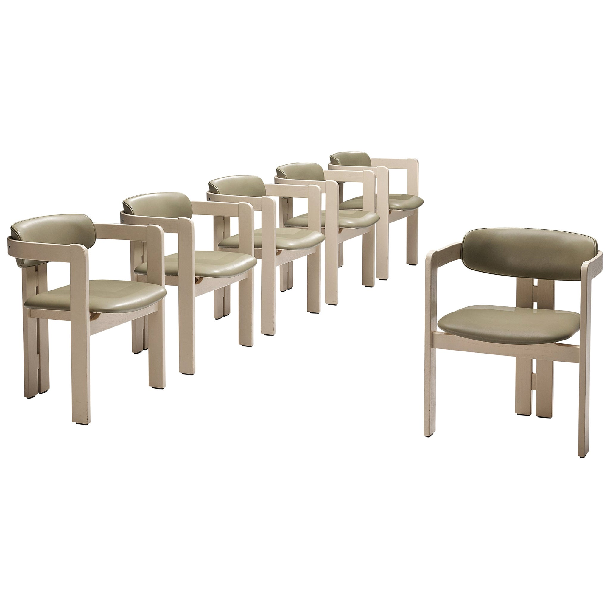 Set of Six Italian Armchairs with Architectural Bentwood Frames