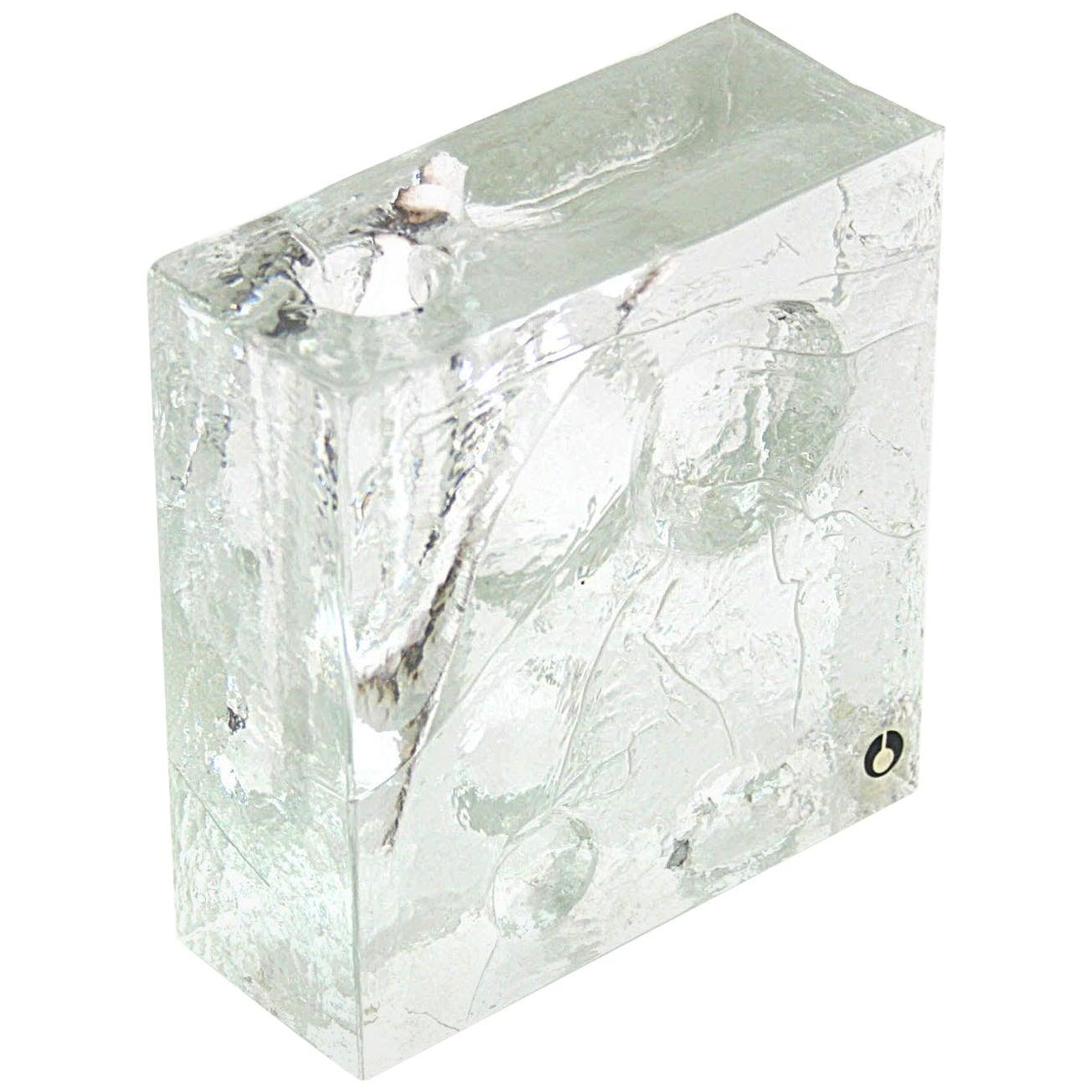 Vase Ice Glass Sculptured by Pukeberg