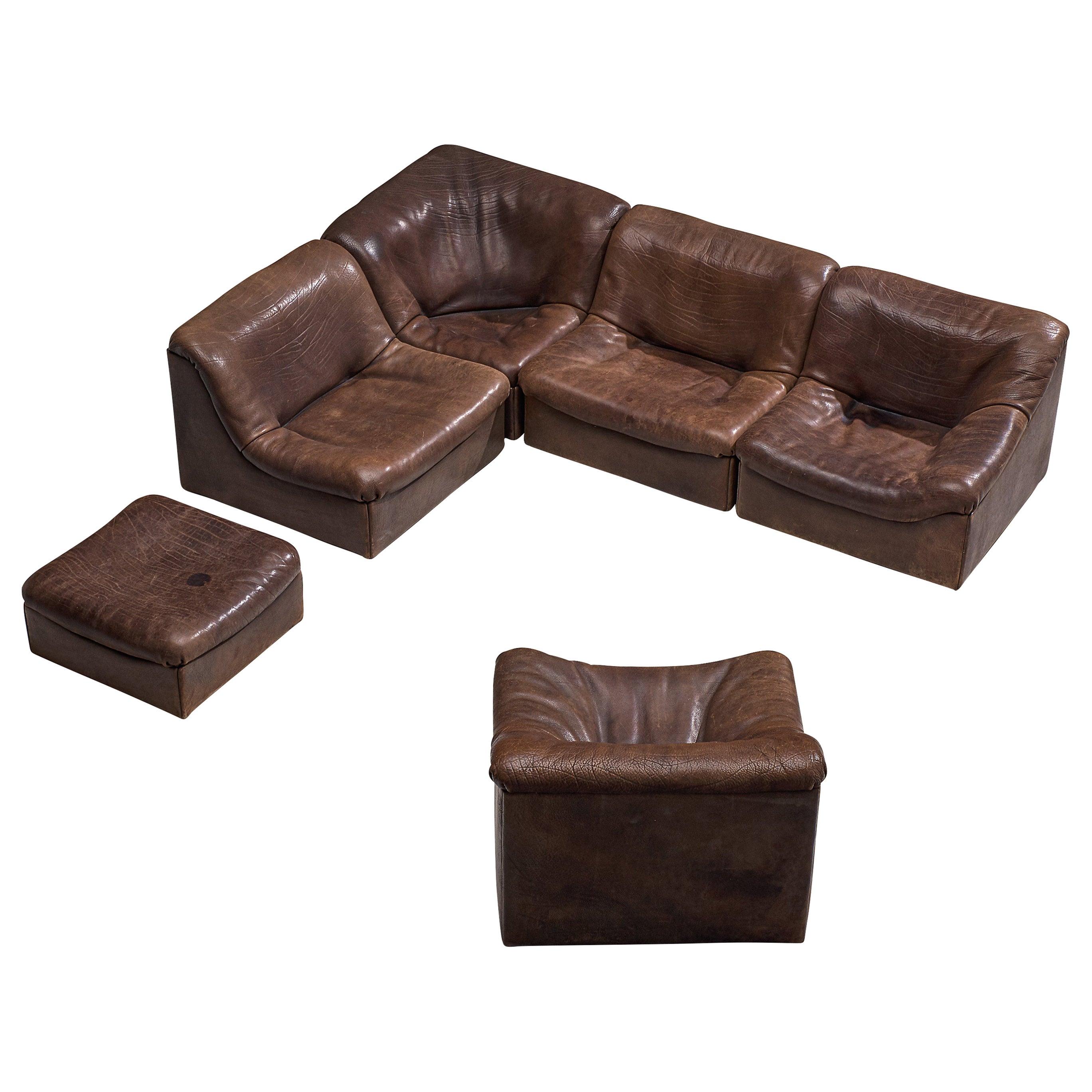 De Sede DS46 Modular Sofa in Brown Leather
