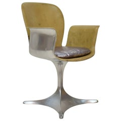 Midcentury German Sculptural Fiberglass Armchair in Silver and Beige, 1957
