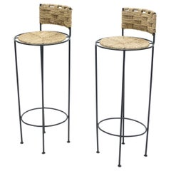 Pair of French Bar Stools Rope and Metal by Audoux Minet, 1950s