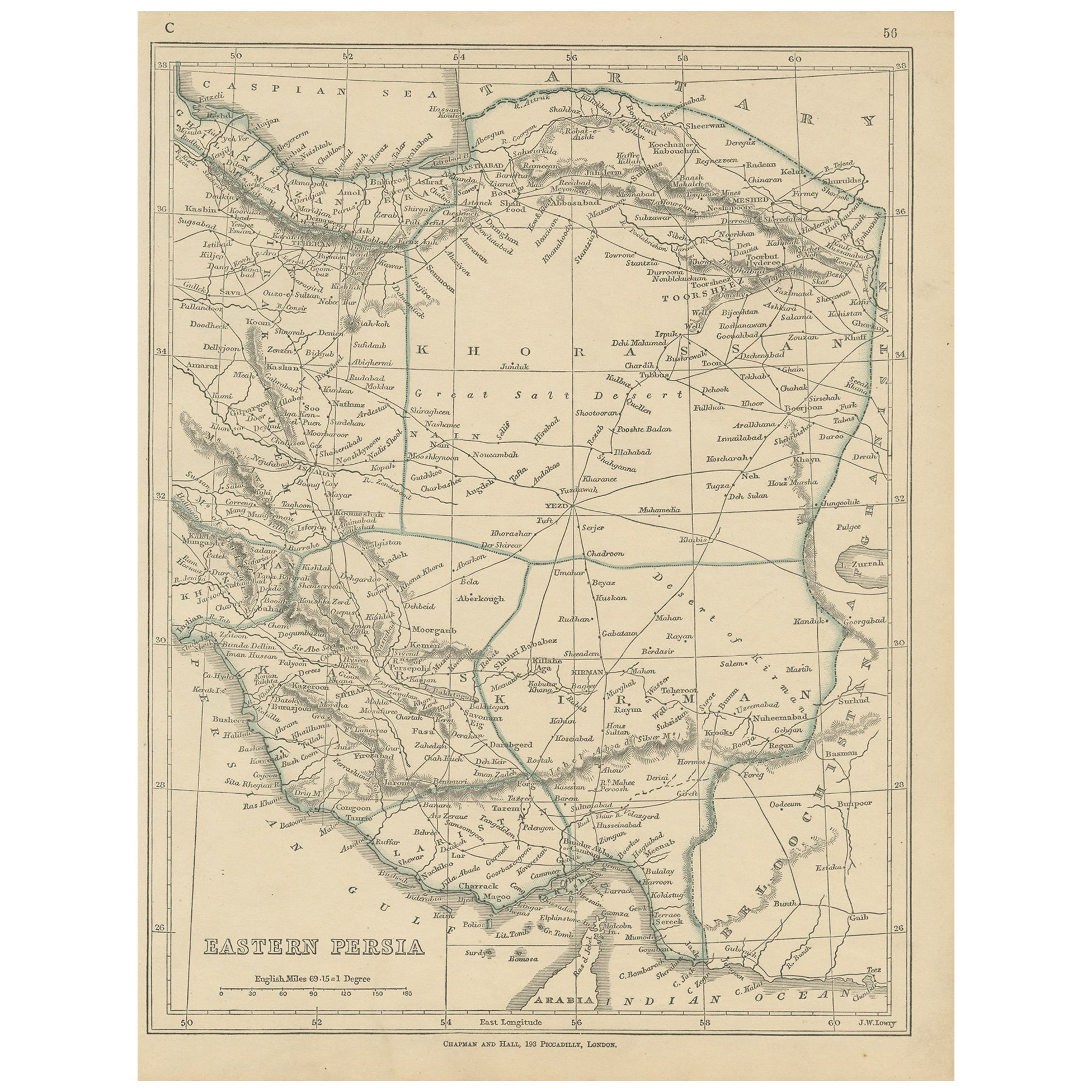 Antique Map of Eastern Persia by Lowry, '1852'