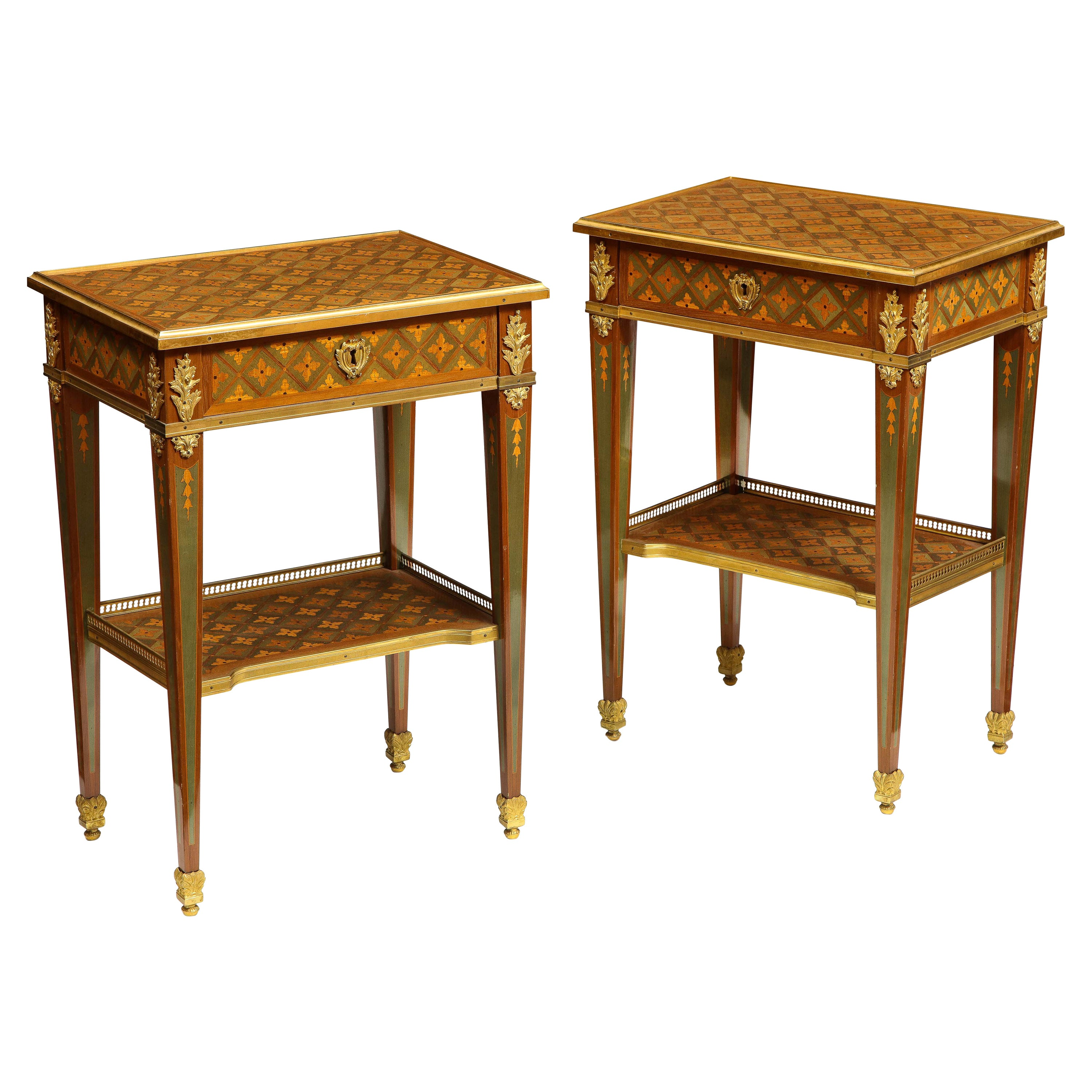 Exceptional Pair of French Ormolu-Mounted Parquetry and Marquetry Side Tables