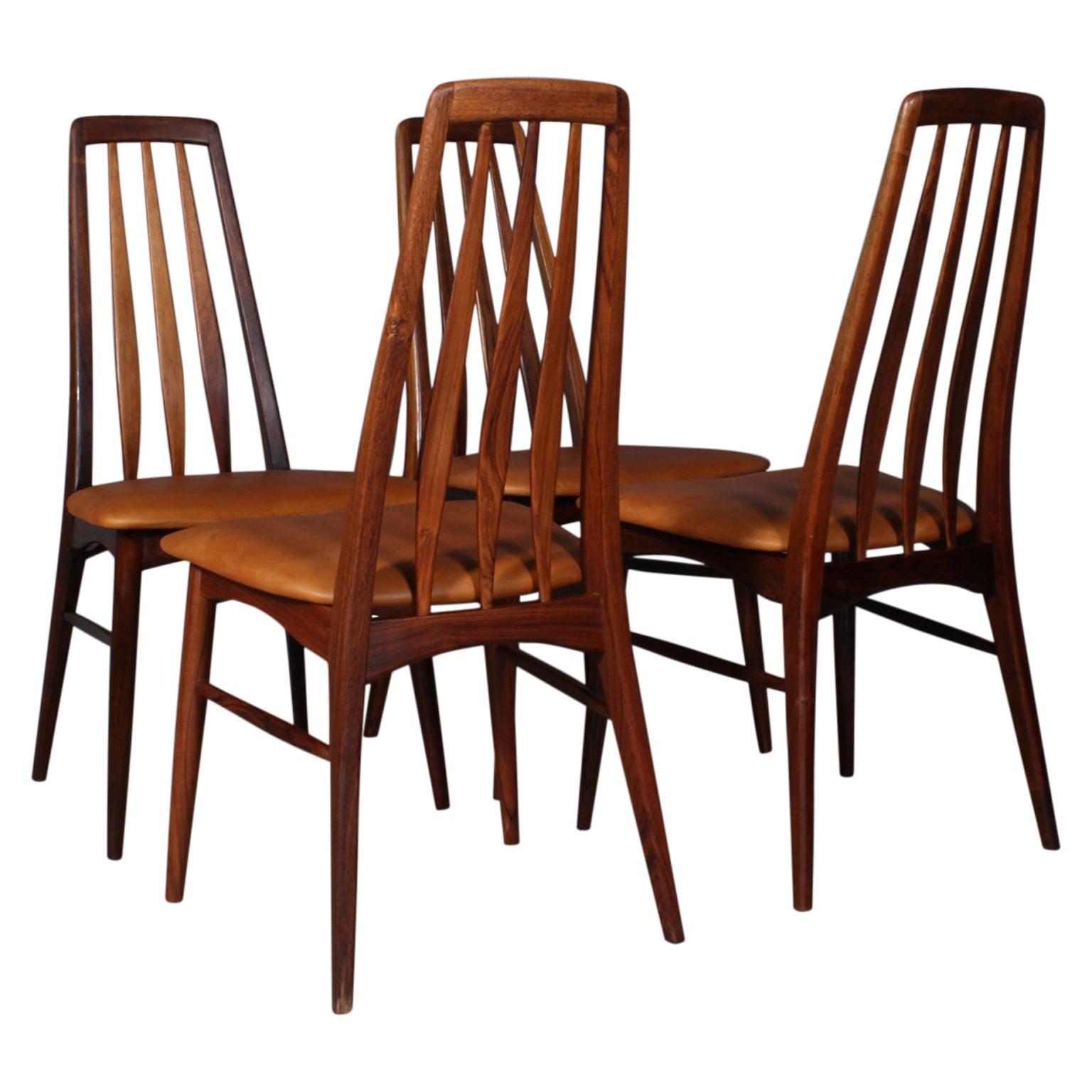 """Niels Koefoed Dining Chairs, Model """"Eva"""", Rosewood, 1960s"""