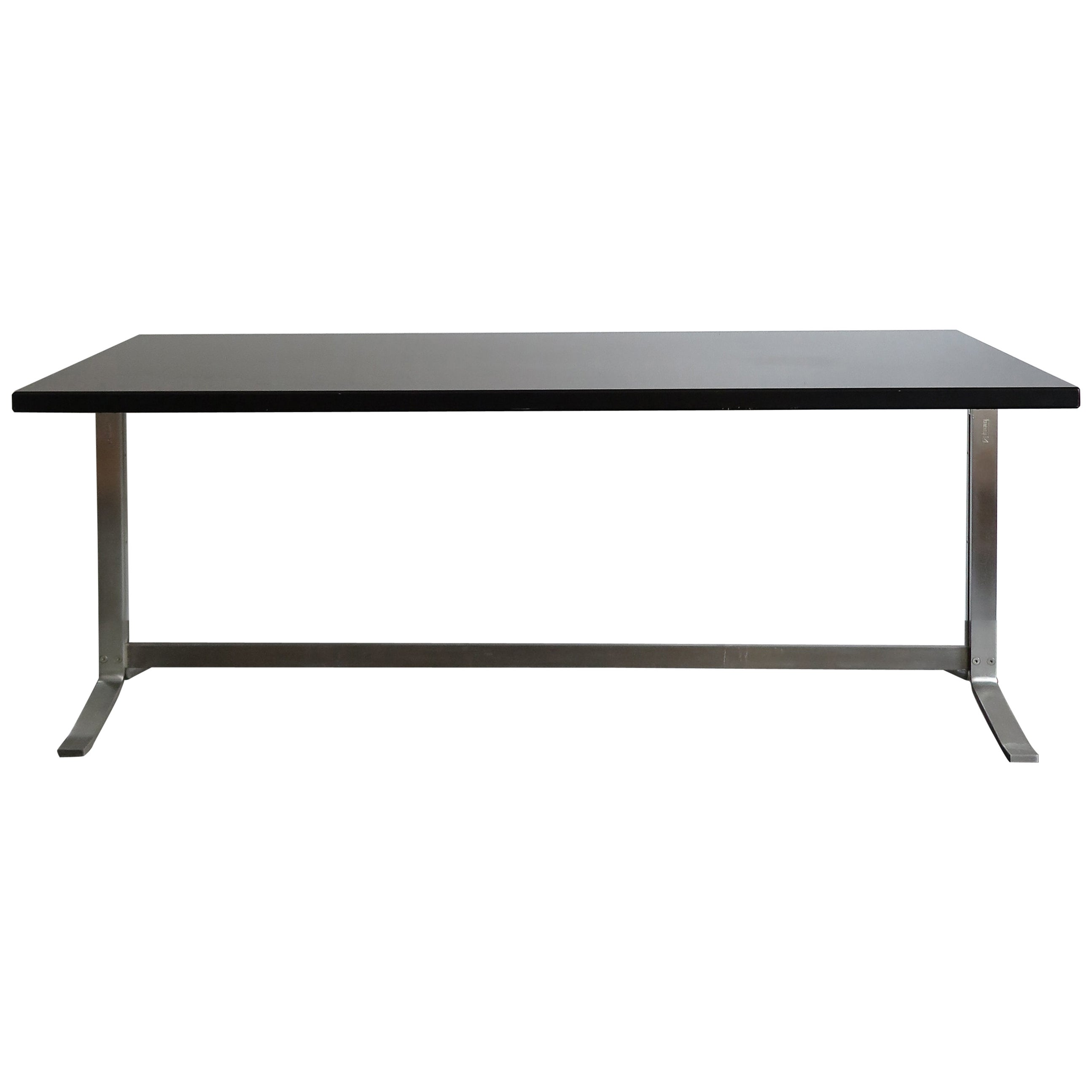 Gianni Moscatelli Italian Formanova Dark Wood and Steel Desk Table, 1960s
