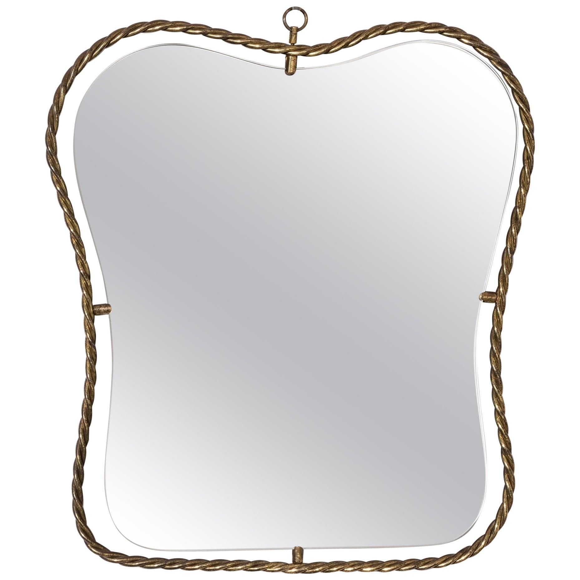 Italian, Small Organic Wall Mirror, Brass, Mirror Glass, Italy, 1950s
