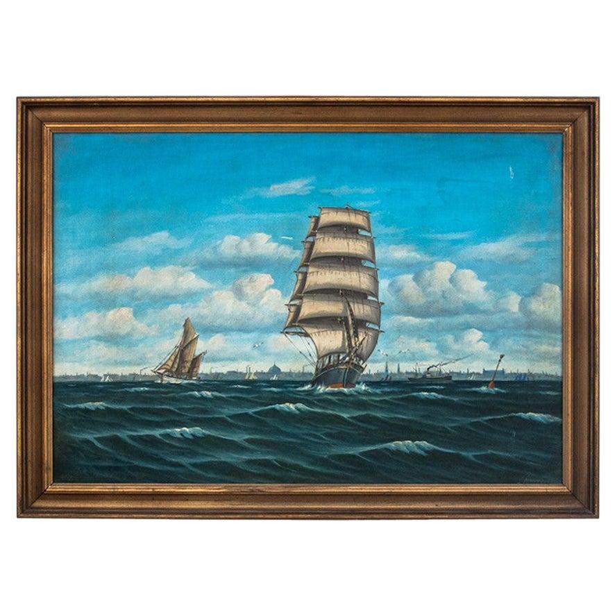 """Painting """"Sailing ship at sea"""""""
