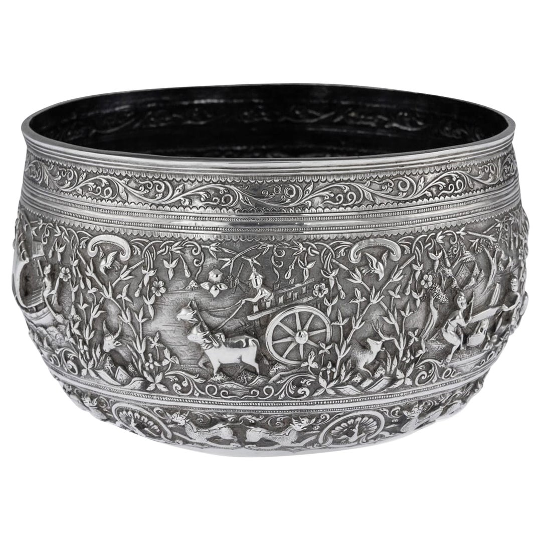 19th Century Burmese Solid Silver Handcrafted Bowl, circa 1880