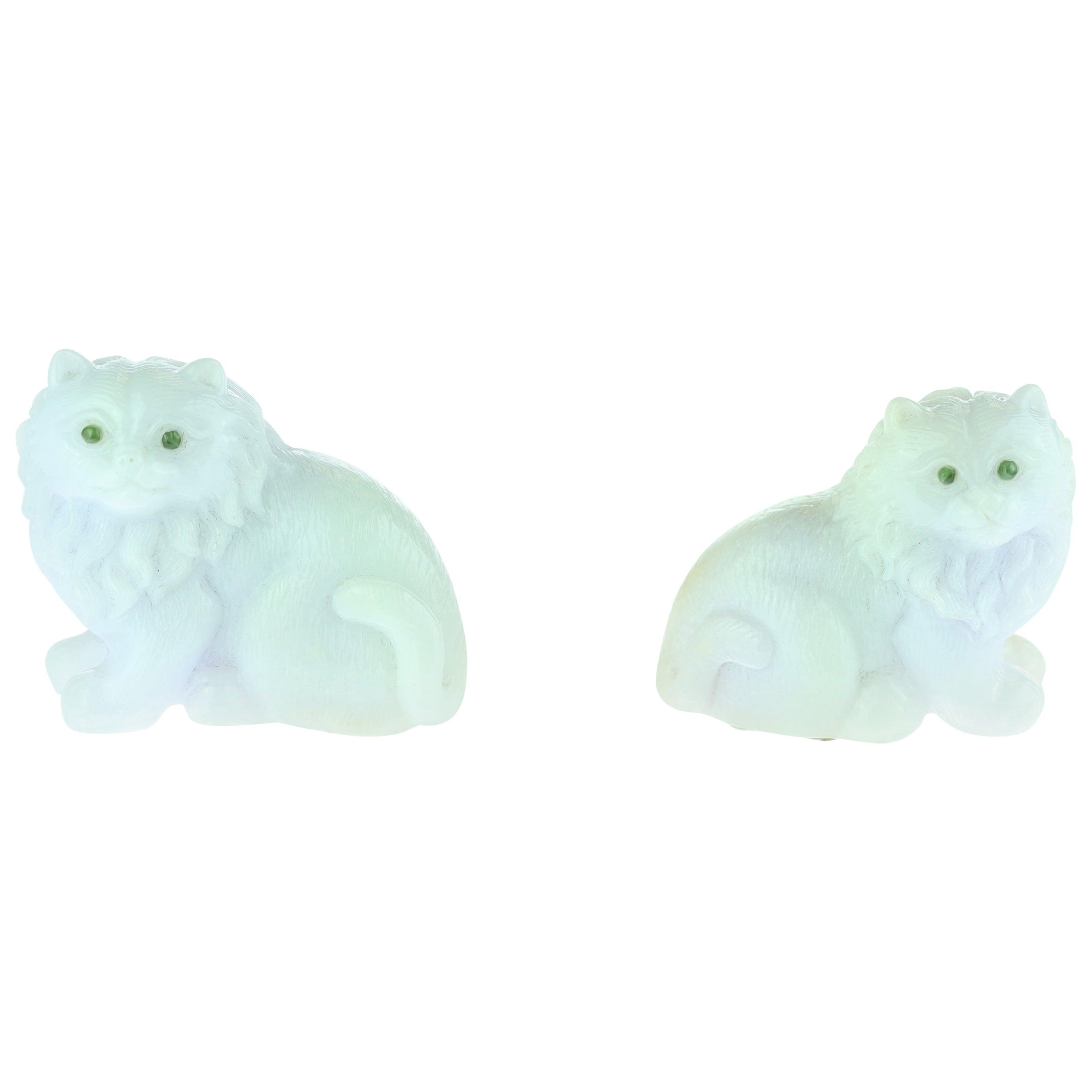 Lavender Jade Cat Feline Animal Asian Art Blue Green Home Deco Sculpture