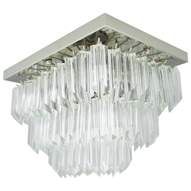 Venini Murano Flush Mount Chandelier, 1970s