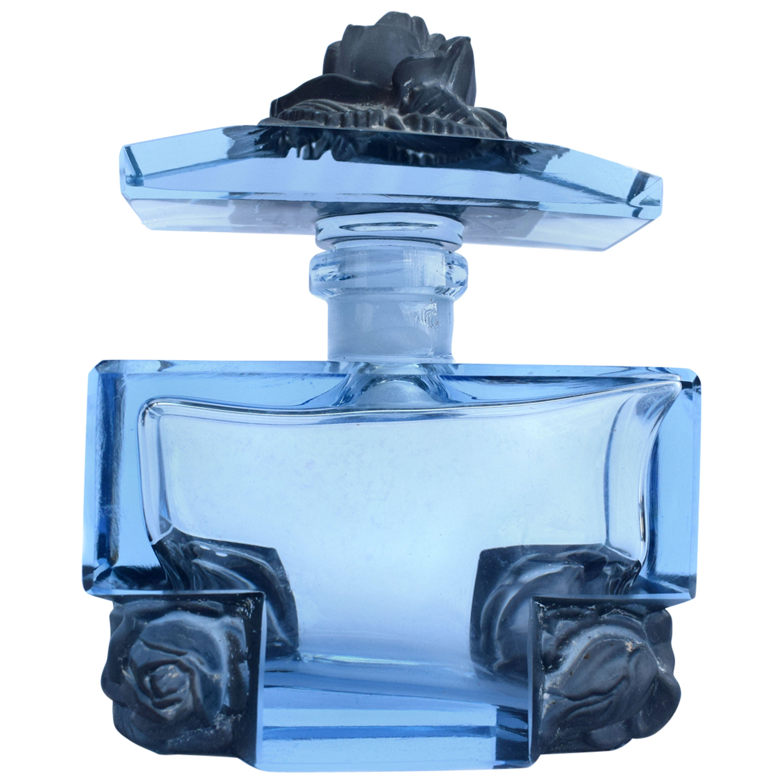 Art Deco Blue Glass Czech Perfume Bottle, 1930s