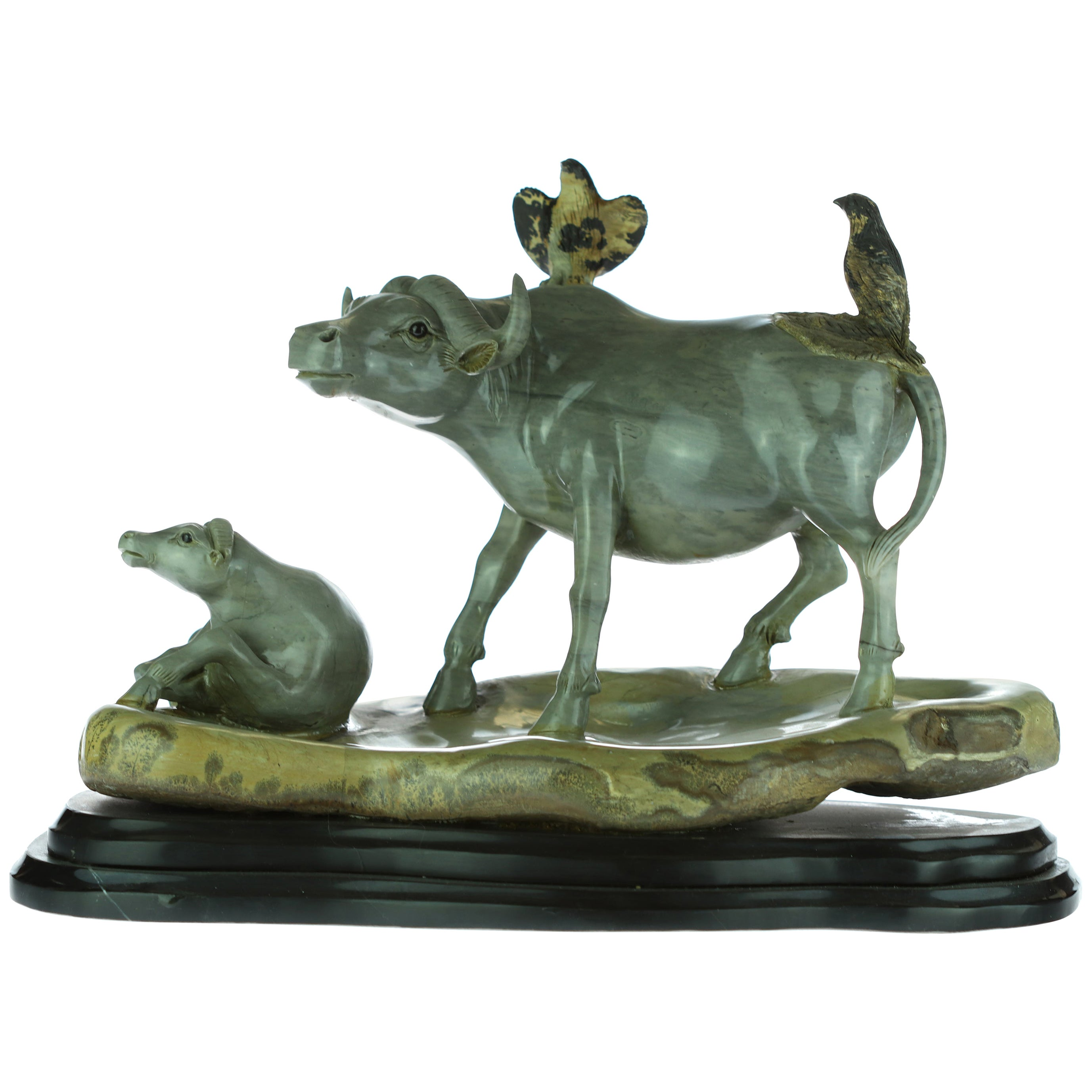 Buffalo Bison Bird Cow Animal Nature Australian Jasper Asian Art Deco Sculpture