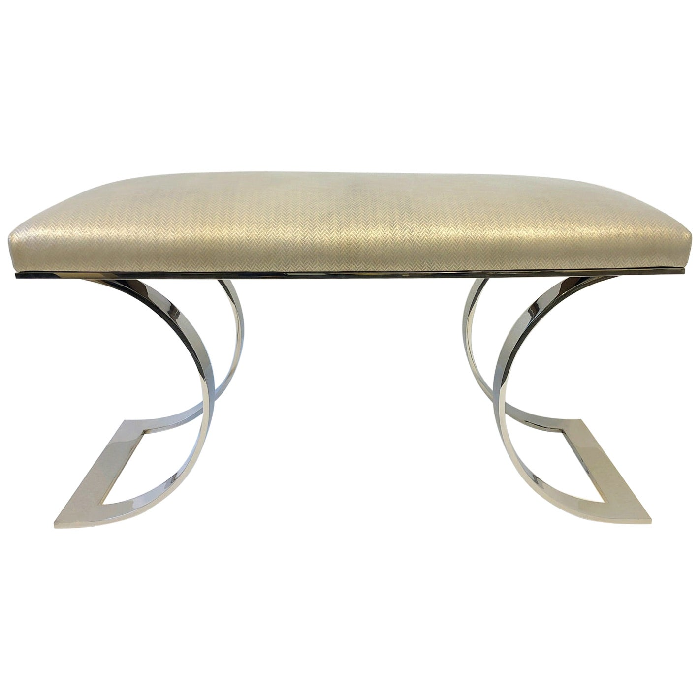 """Polish Stainless Steel and Leather """"JMF Bench"""" by Karl Springer"""