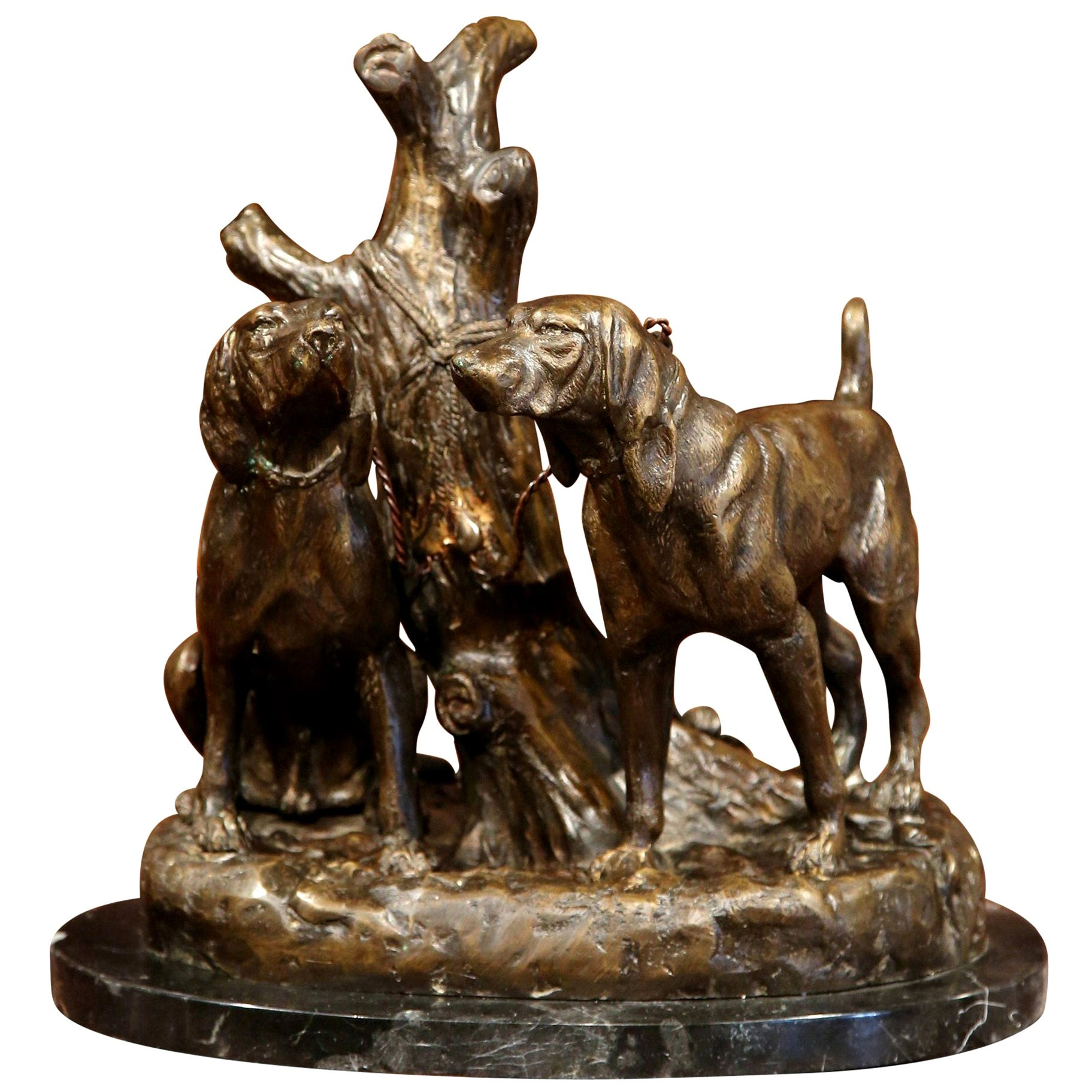 Early 20th Century Bronze Hounds Sculpture on Marble Base Signed Grave Johnson
