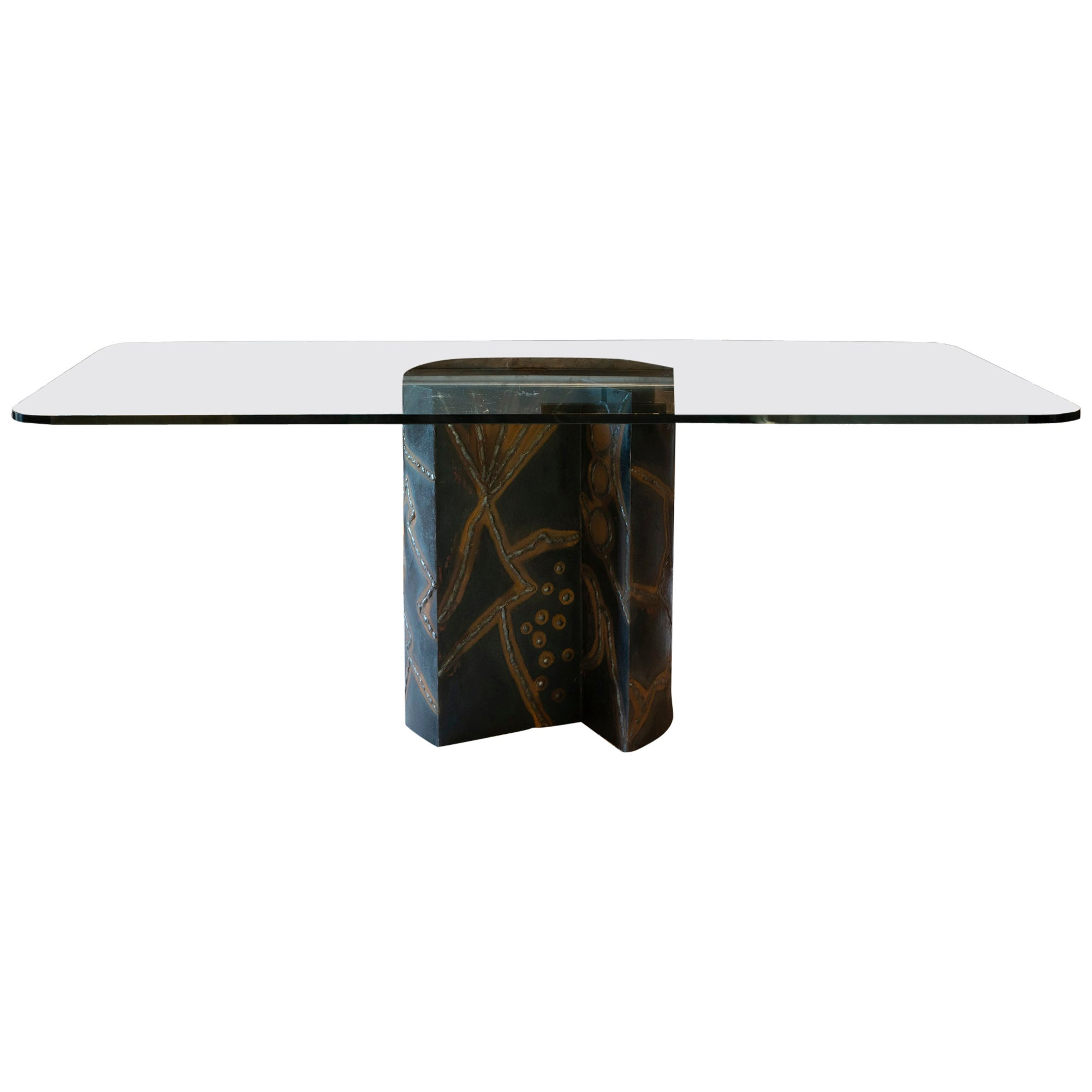 1970s Brutalist Style Italian Table, Steel Base and Tempered Glass Top