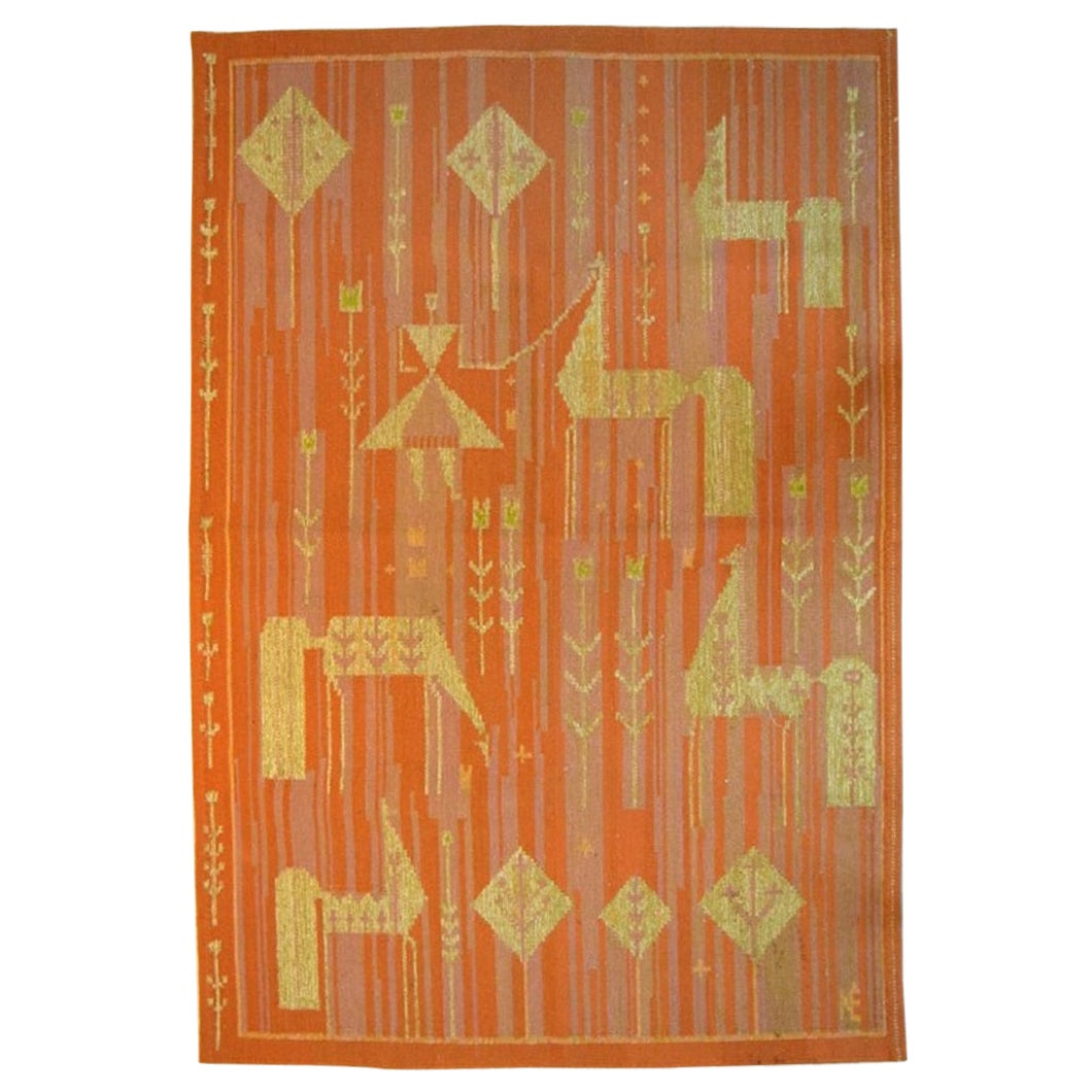 Swedish Textile Designer, Handwoven Röllakan Rug with Horses and Girl