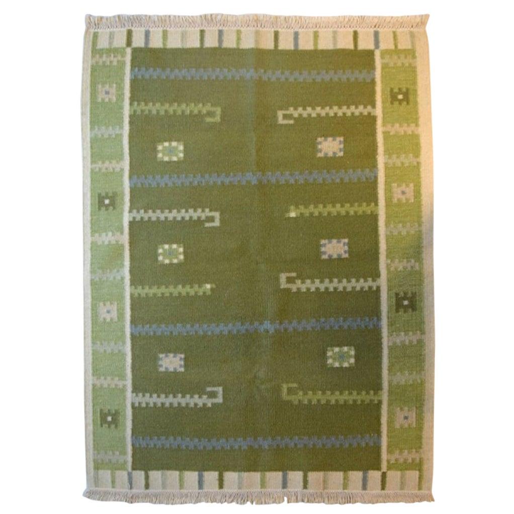 Swedish Textile Designer, Handwoven Röllakan Rug with Geometric Fields