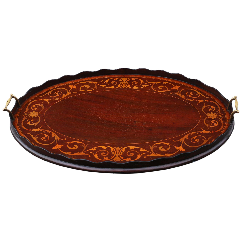 Antique 19th Century Inlaid Mahogany Oval Serving Tea Tray