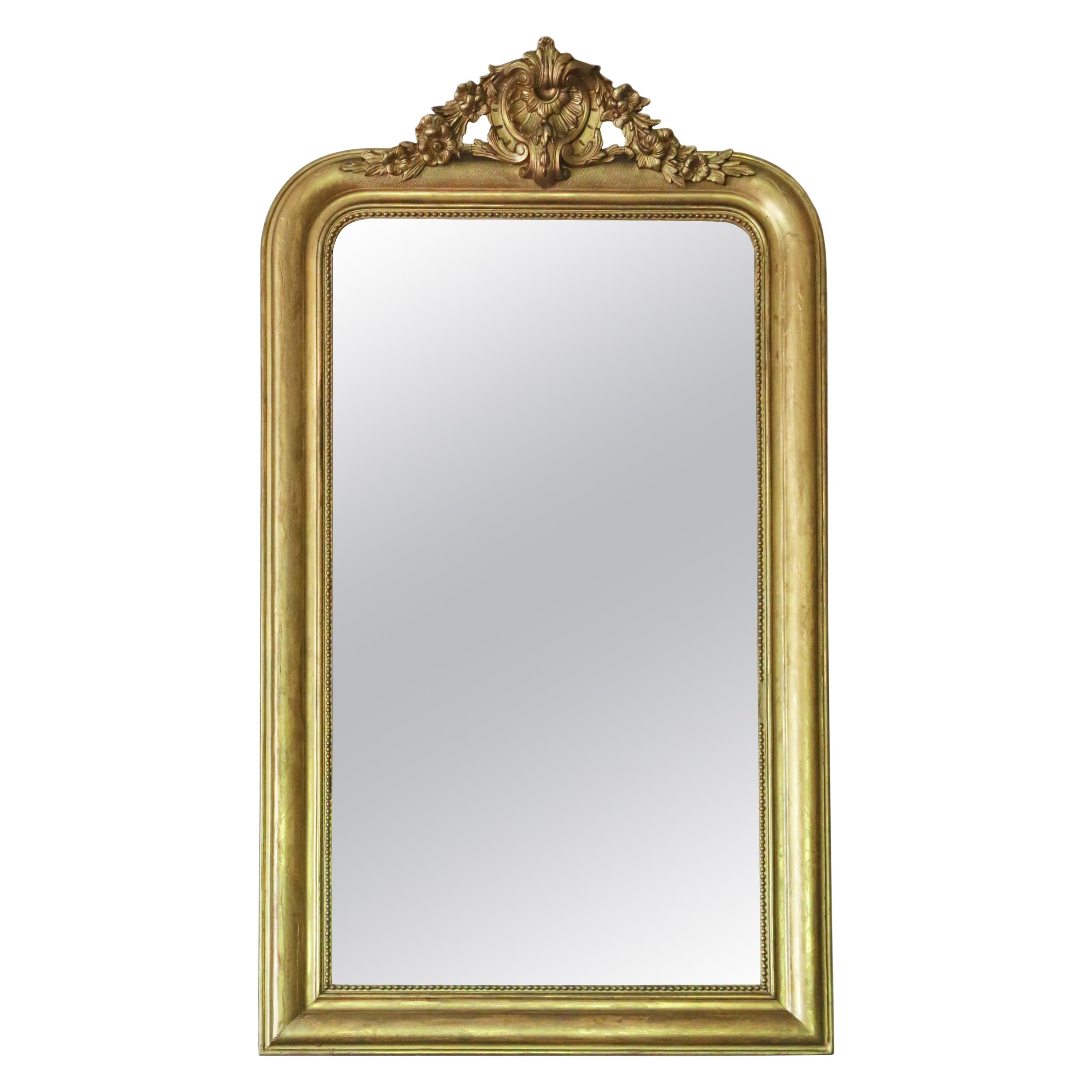 Antique Large Gilt 19th Century Overmantle Wall Mirror