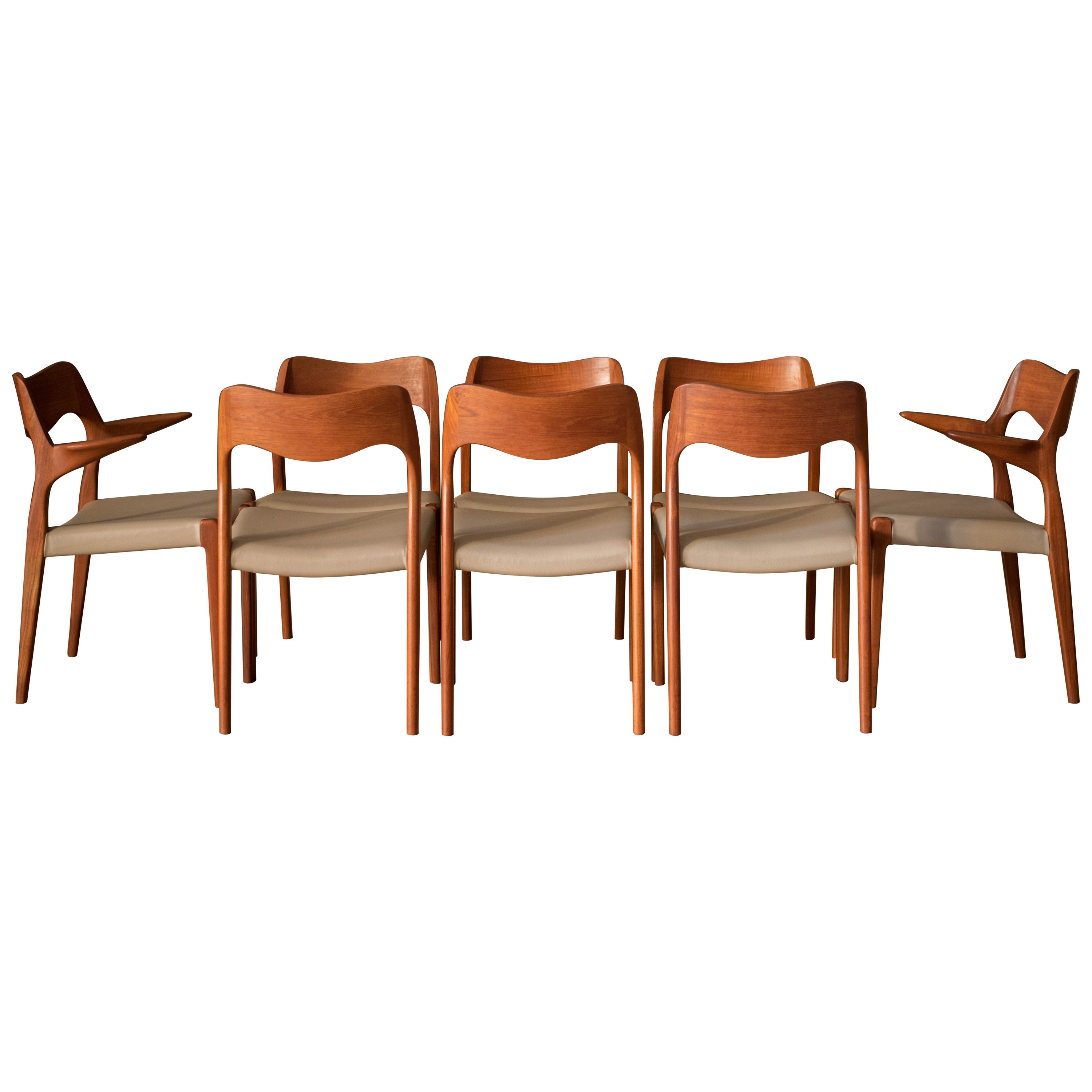 Set of Eight Danish Teak Niels O. Moller Dining Chairs Model 71 and 55