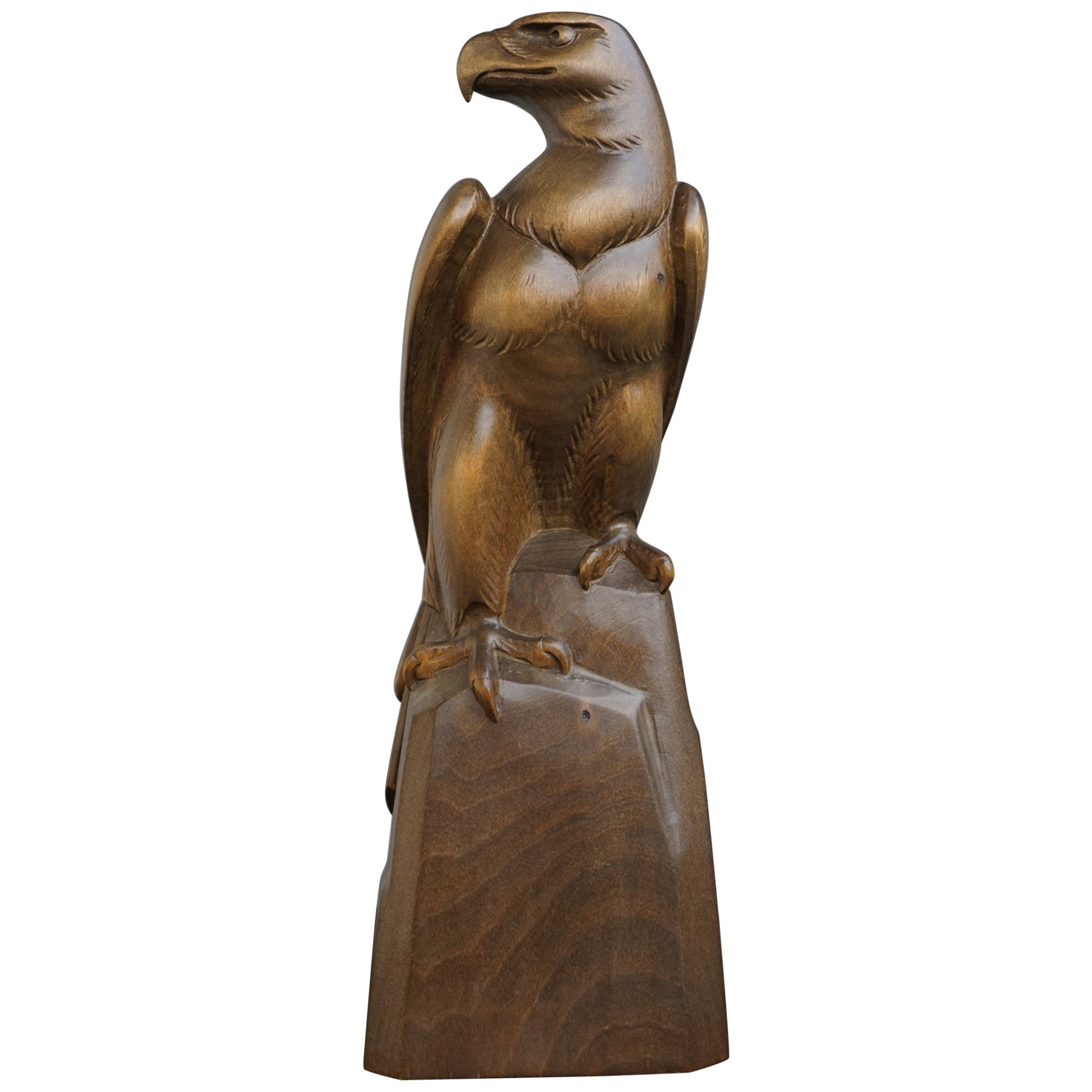 Early to Mid-20th Century Hand Carved Black Forest Sitting Eagle Sculpture