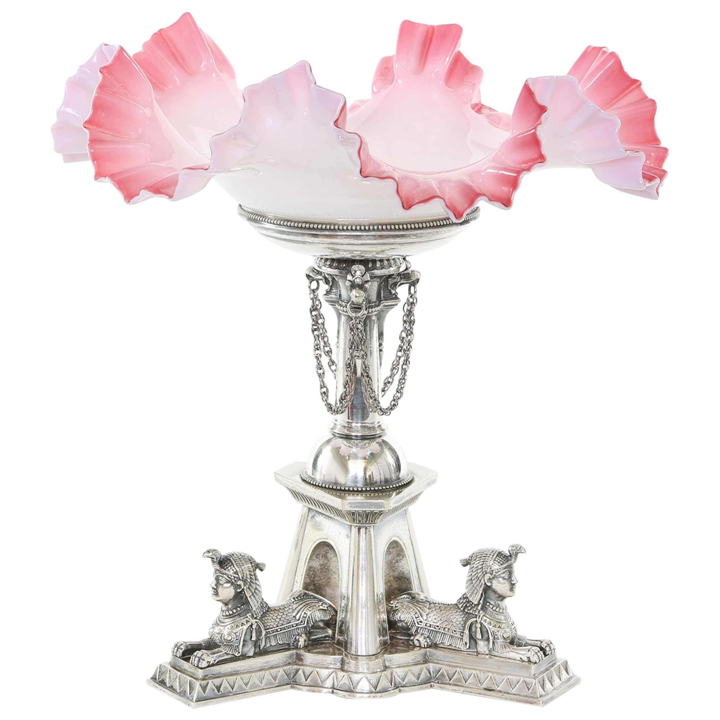 Mid-19th Century Silver Plated / Art Glass Tazza
