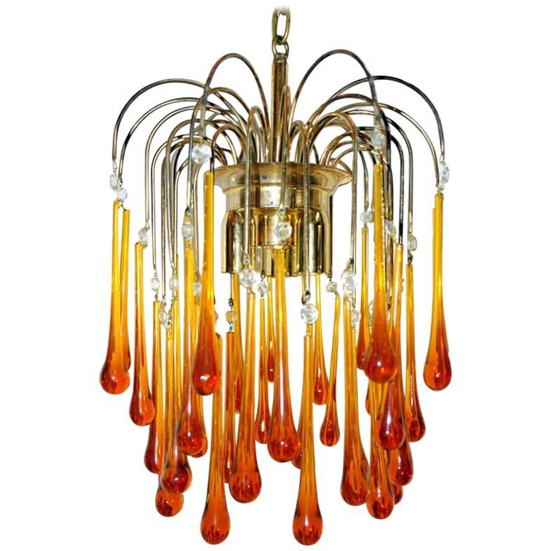Italian Amber Glass Drop Light Fixture